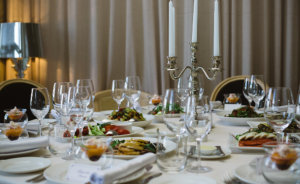 Elegant Catering Table Set Service with Silverware