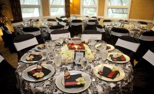 Elegant room set up for catered event