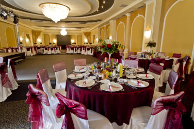 Elegant party hall with table and chair covers